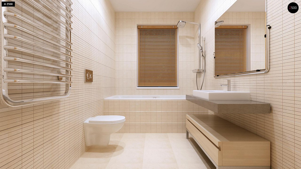 Компактный одноэтажный дом простой формы с возможностью обустройства чердачного помещения. 14