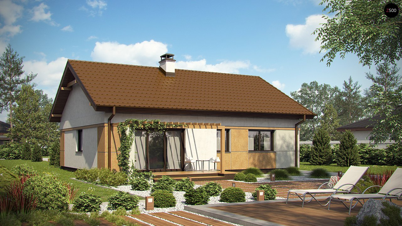 Компактный, уютный одноэтажный дом с двускатной крышей. 2