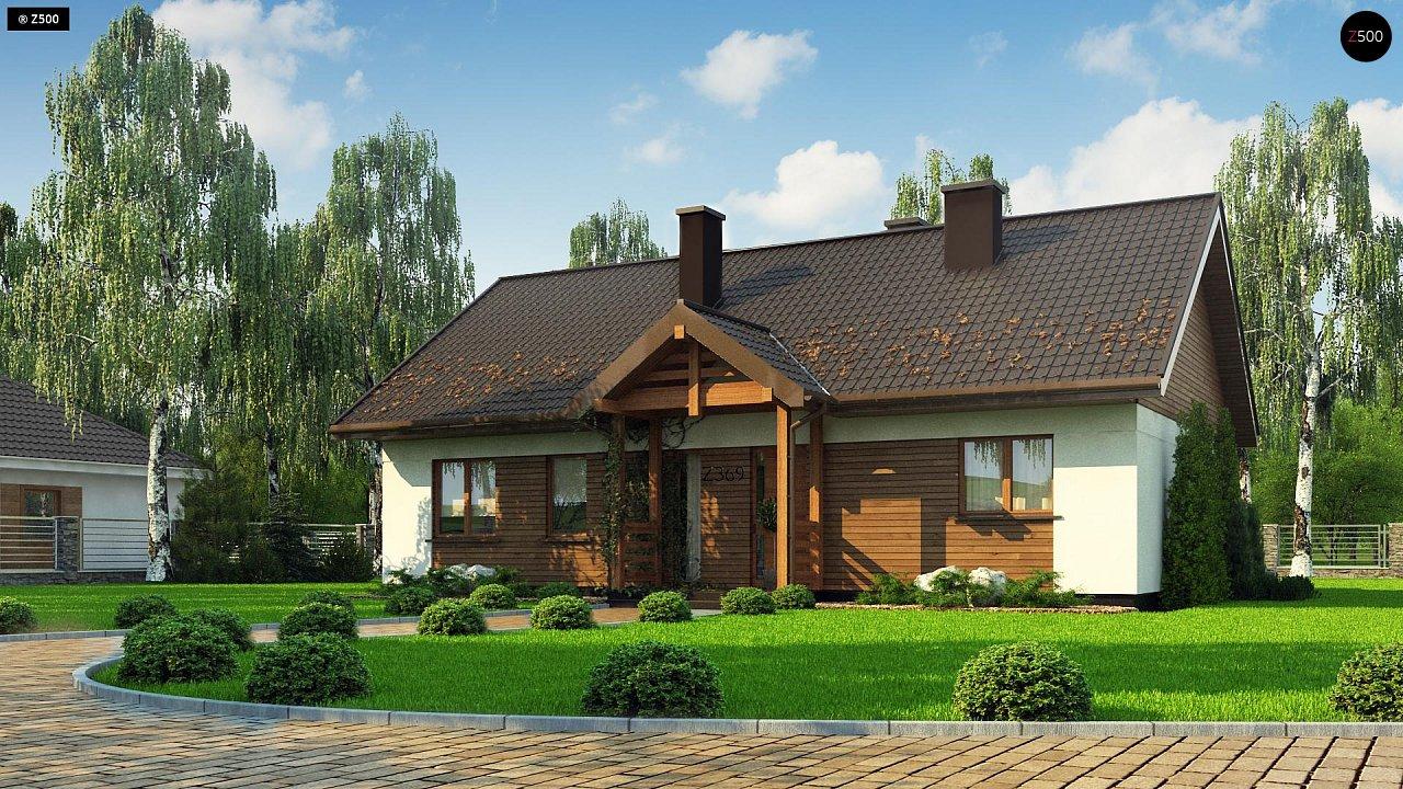 Аккуратный одноэтажный дом с деревянной отделкой на фасадах. 1