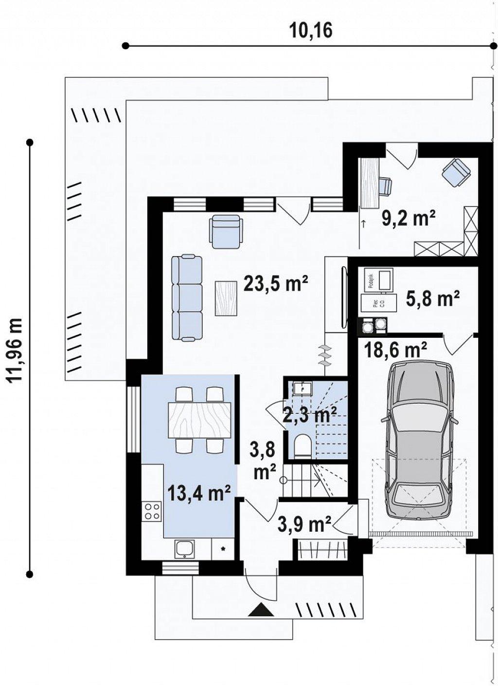 Современный двухсемейный дом с двускатной крышей план помещений 1