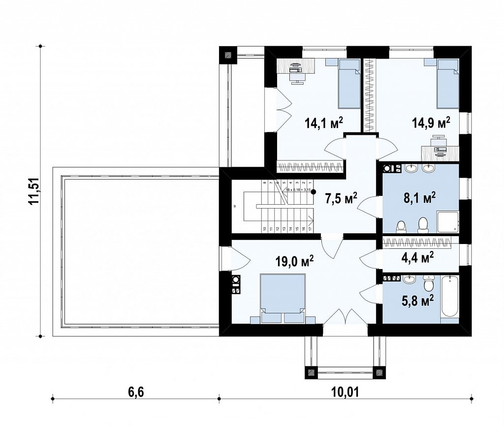 двухэтажный дом с гаражом на две машины в классическом стиле. план помещений 2