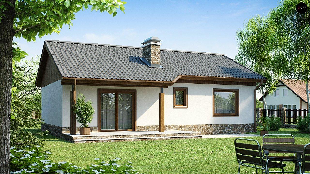 Экономичный в реализации одноэтажный дом с просторной гостиной и двумя спальнями. 1