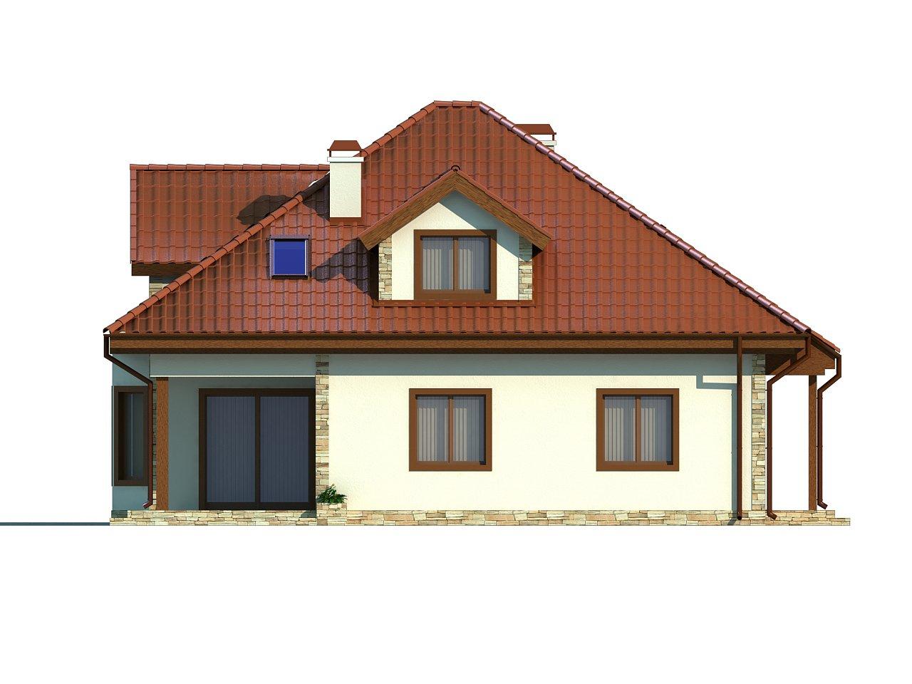 Проект просторного и уютного дома с гаражом, эркером, красивыми мансардными окнами. - фото 4