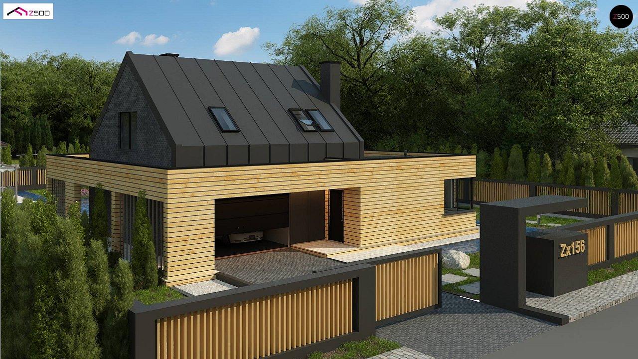Современный дом с 2-х скатной кровлей, окруженный террасой с плоской крышей. 5