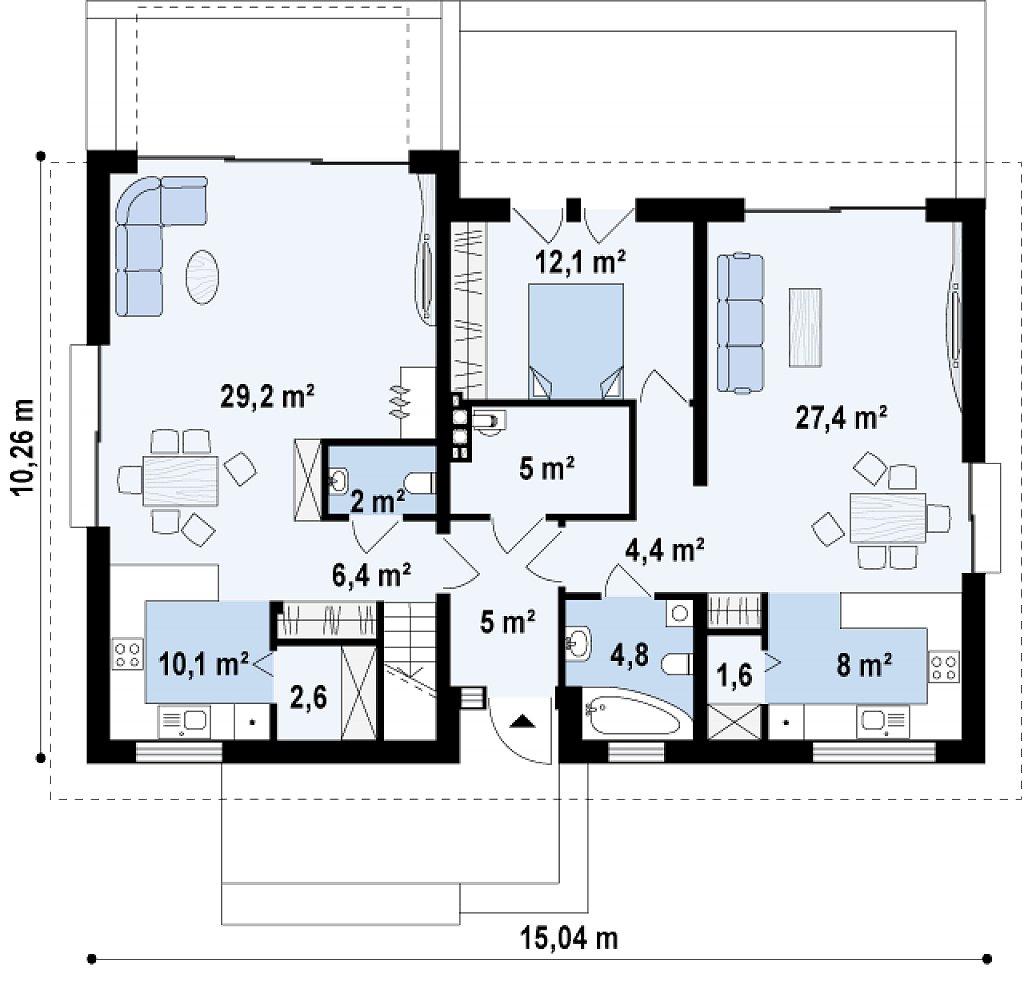 Проект двухсемейного дома с отдельной удобной «квартирой» площадью 58 м2. план помещений 1
