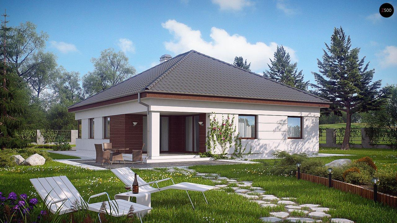 Просторный одноэтажный дом с многоскатной крышей, угловым окном и угловой террасой в дневной зоне. 2