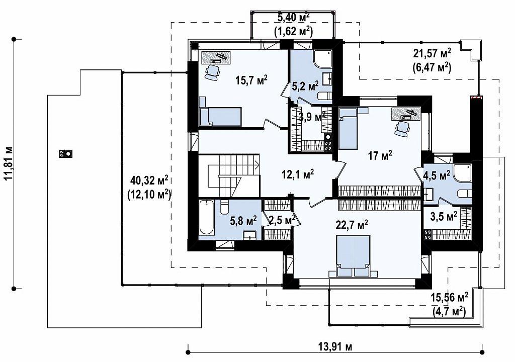 Двухэтажный дом с гаражом на два автомобиля и двумя спальнями на первом этаже план помещений 2