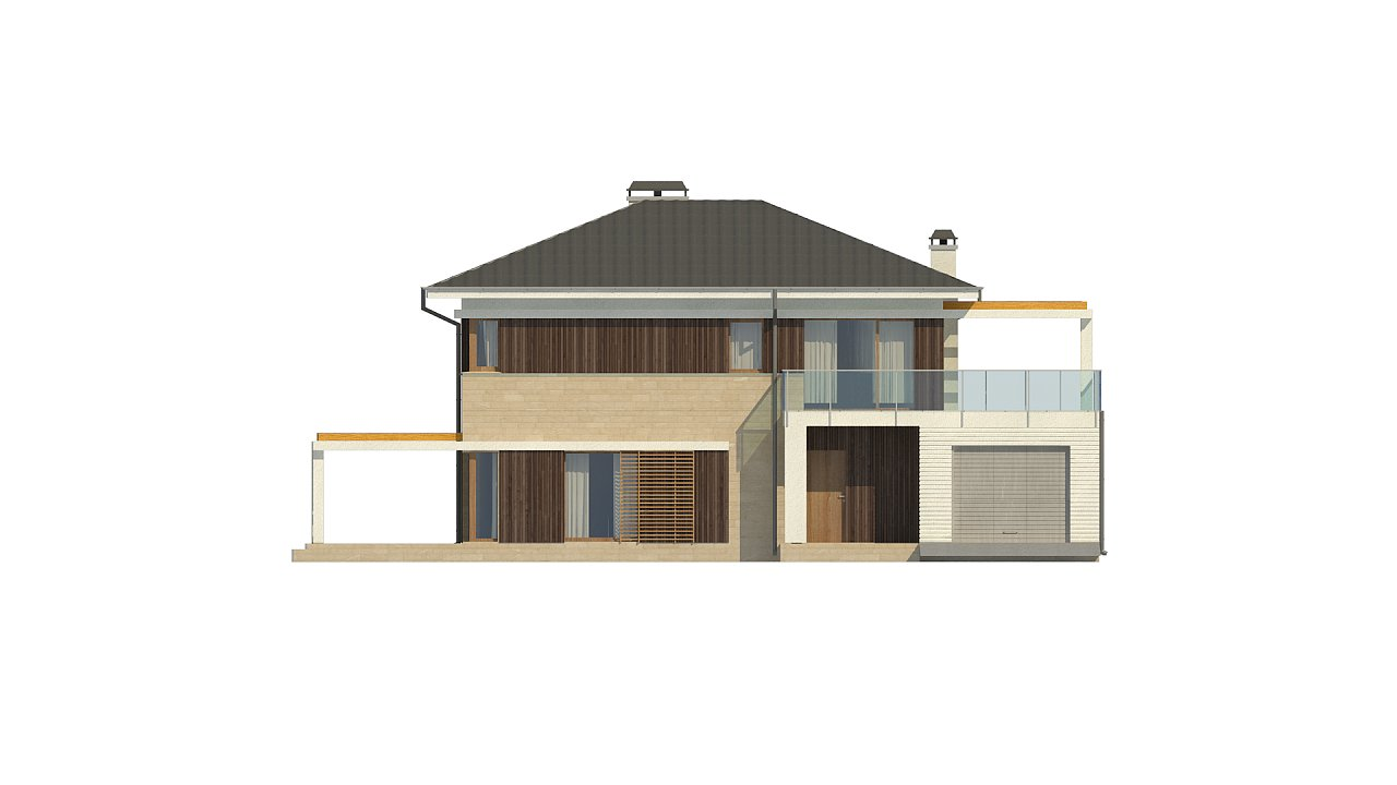 Увеличенная версия проекта современного дома Zx63 B 33