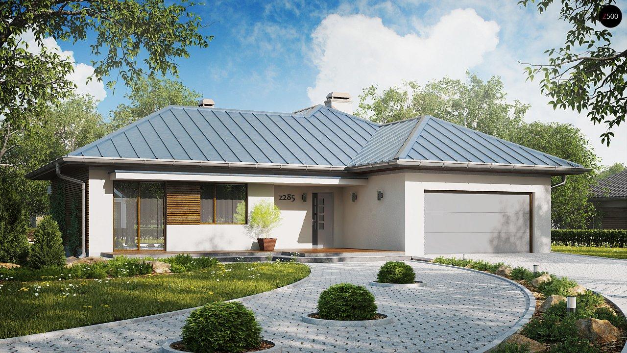 Проект удобного одноэтажного дома с большой угловой террасой. 1