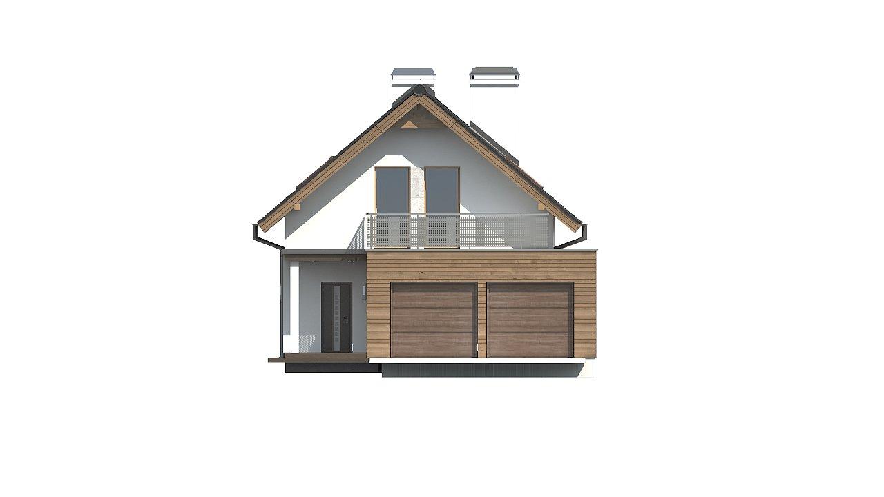 Практичный и уютный дом простой формы для узкого участка с террасой над гаражом. 3