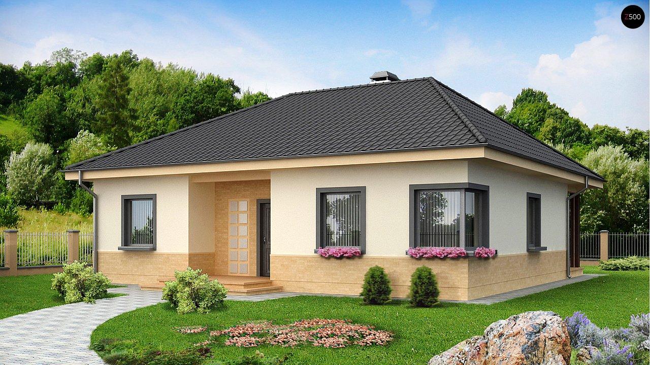 Практичный одноэтажный дом с 4-х скатной кровлей и угловым окном в кухне. 2