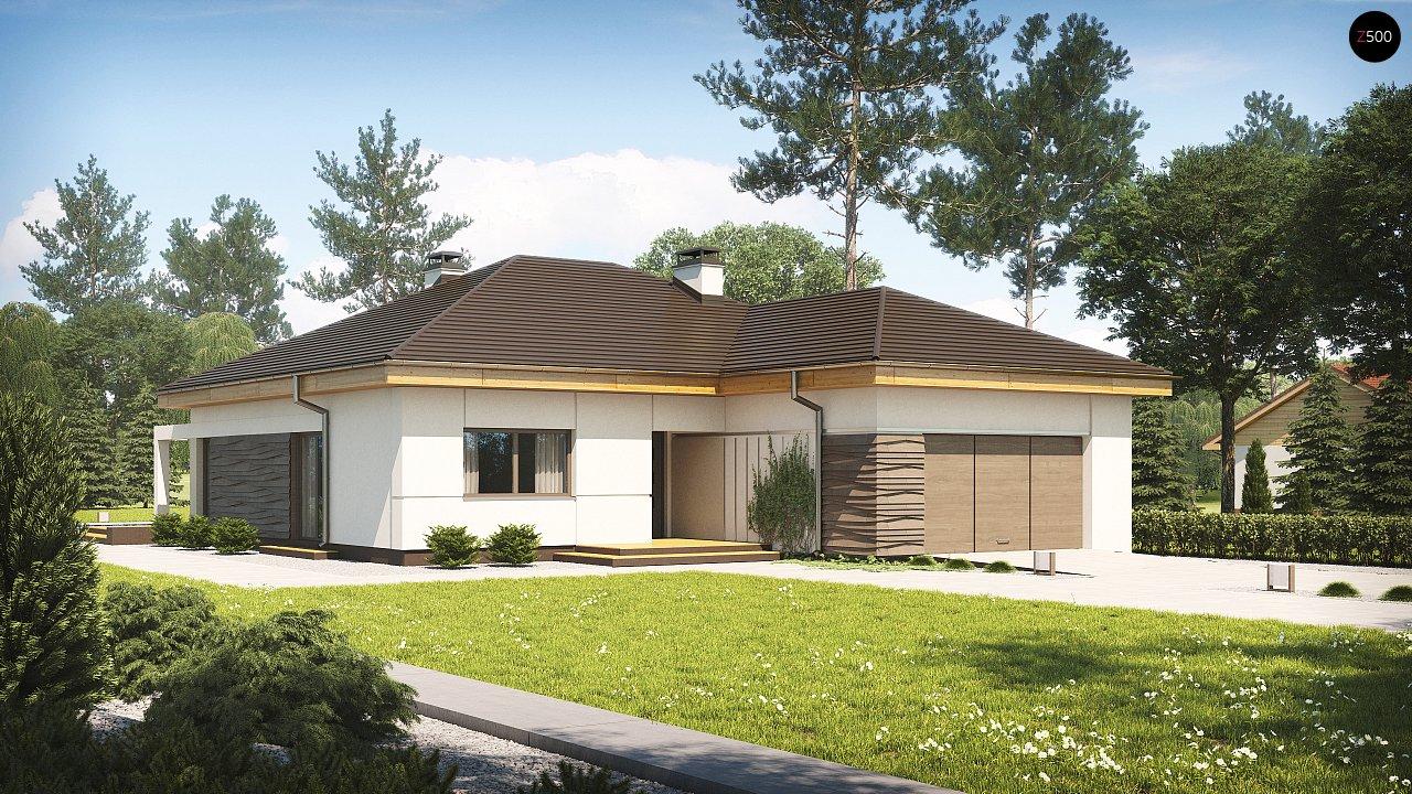 Проект одноэтажного дома с фронтальным выступающим гаражом и возможностью обустройства мансарды. 1