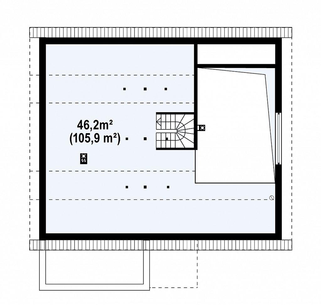 Дом традиционной формы с современными архитектурными дополнениями. Свободная планировка мансарды и антресоль над гостиной. план помещений 2