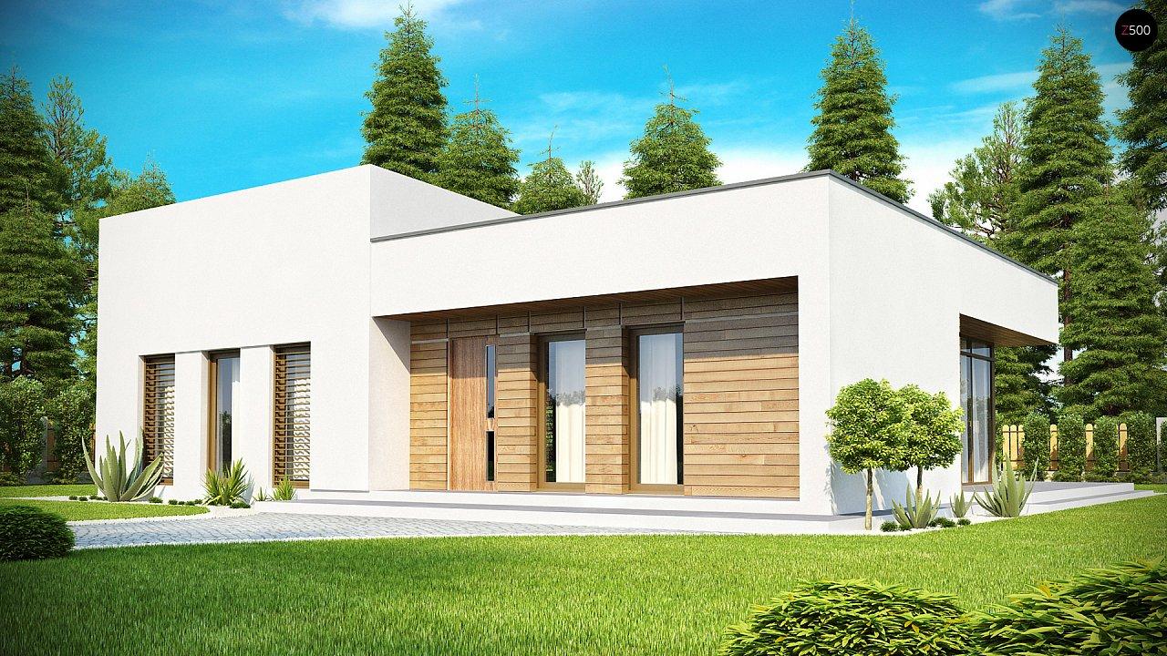 Современный функциональный дом с большой площадью остекления в гостиной. 2