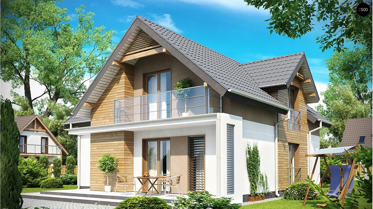 Проект удобного функционального дома с мансардой и гаражом  3