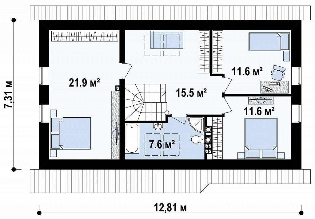 Версия проекта дома Z71 с гаражом, пристроенным слева. план помещений 2