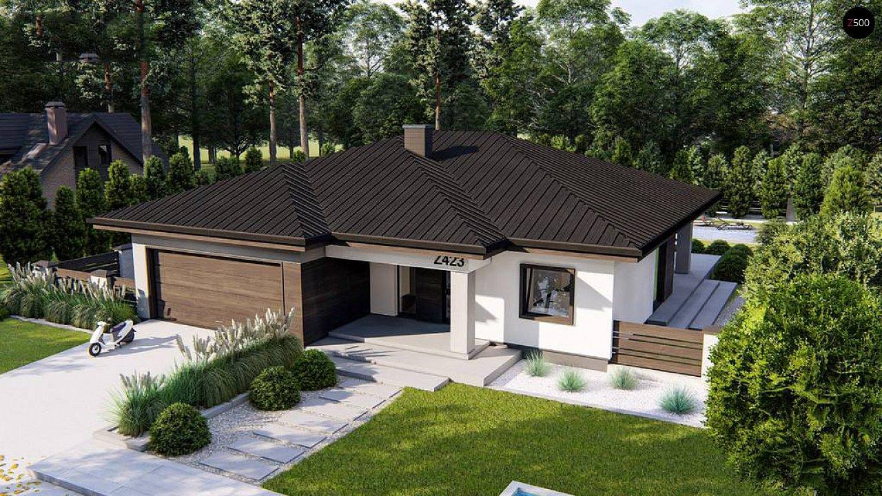 Современный одноэтажный дом с многоскатной крышей и гаражом на две машины. 1