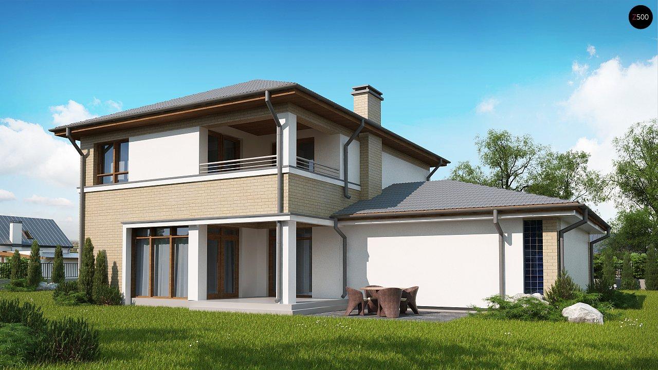 Версия двухэтажного дома Zx24 c увеличенным гаражом для двух машин 2