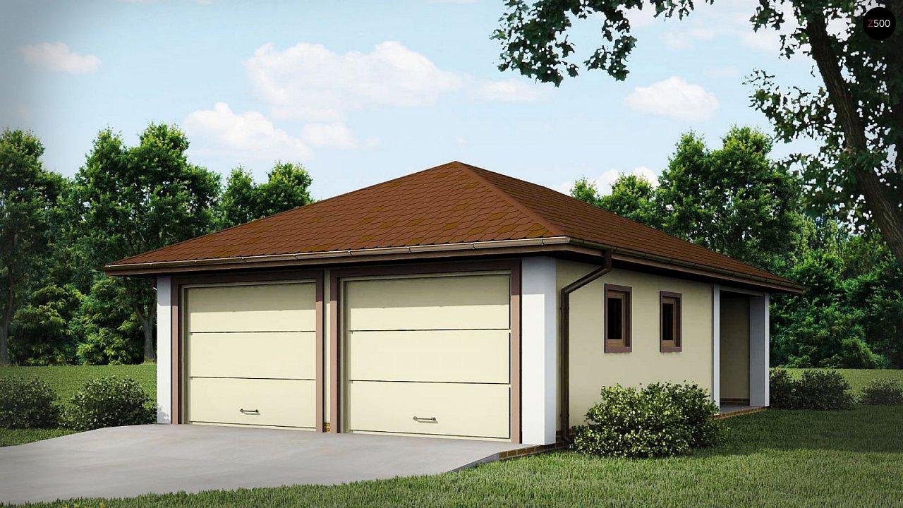 Проект гаража для двух автомобилей для дома в классическом стиле 1