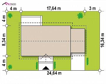 Одноэтажный дом с гаражом на одну машину. план помещений 1