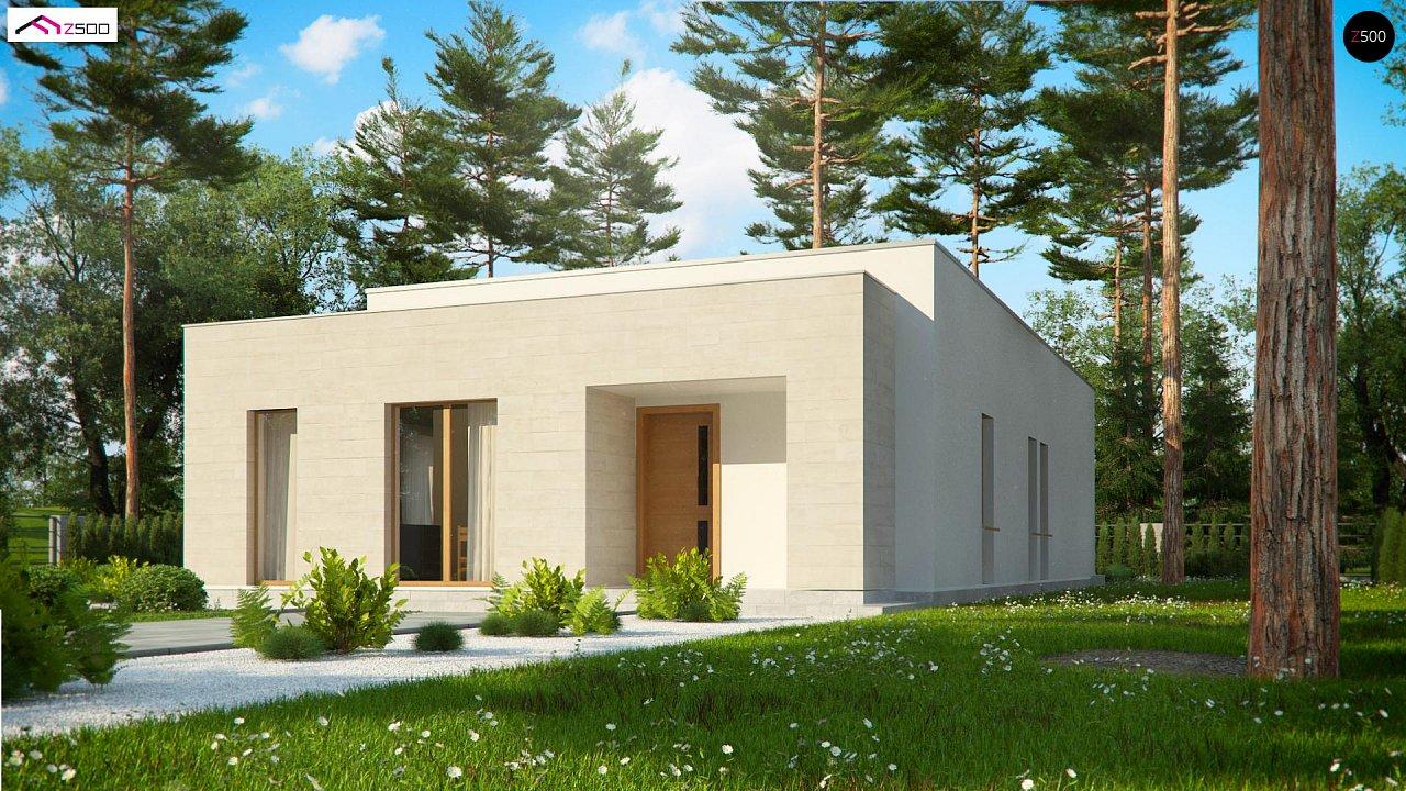 Одноэтажный дом в современном стиле, с большими застекленными окнами 5