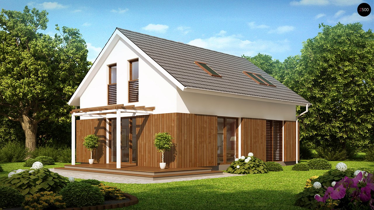 Проект дома в традиционном стиле с двускатной крышей. 2