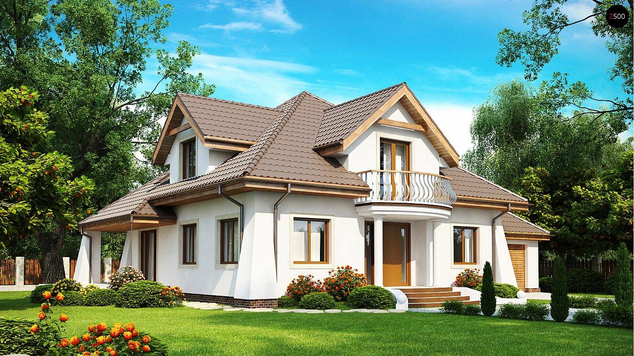 Удобный дом в классическом стиле с красивыми мансардными окнами и балконом. 1