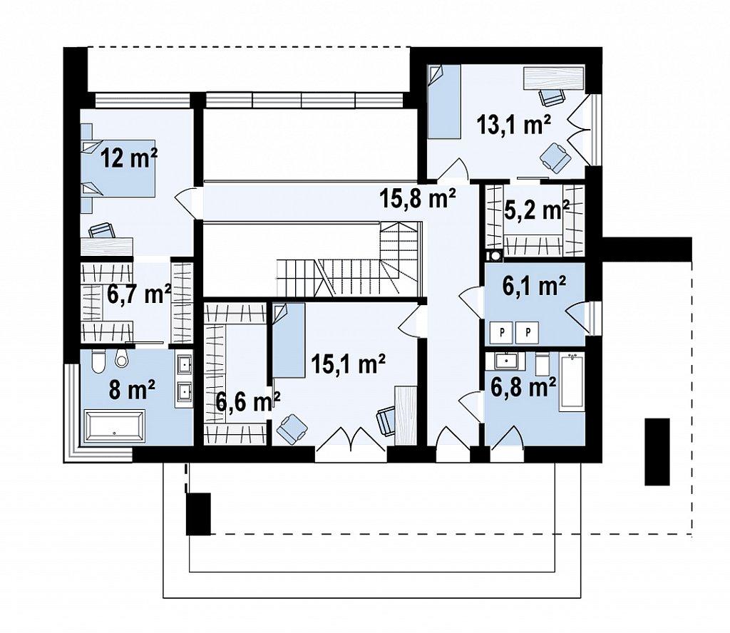 Современный двухэтажный дом с плоской кровлей план помещений 2