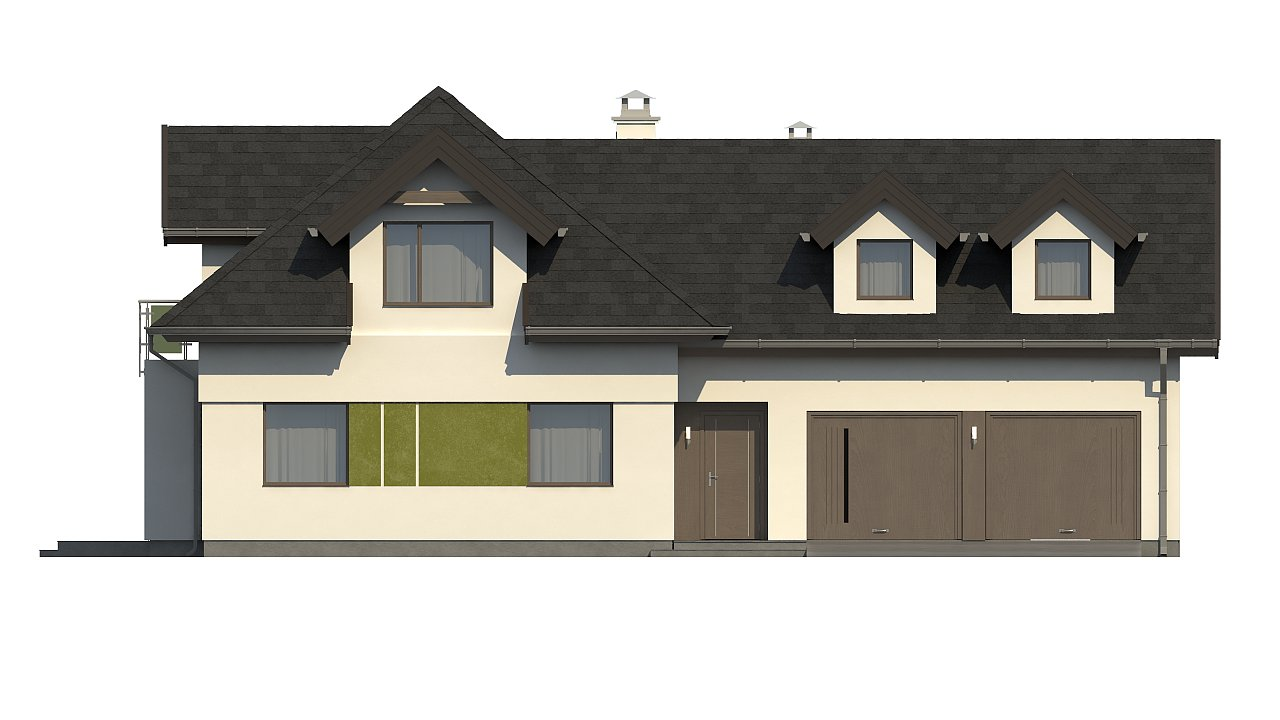 Комфортабельный дом с интересными фасадными окнами, с гаражом на два авто. 4