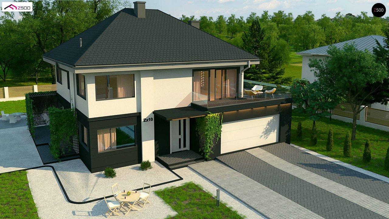 Просторный двухэтажный дом простой формы с террасой над гаражом. - фото 6