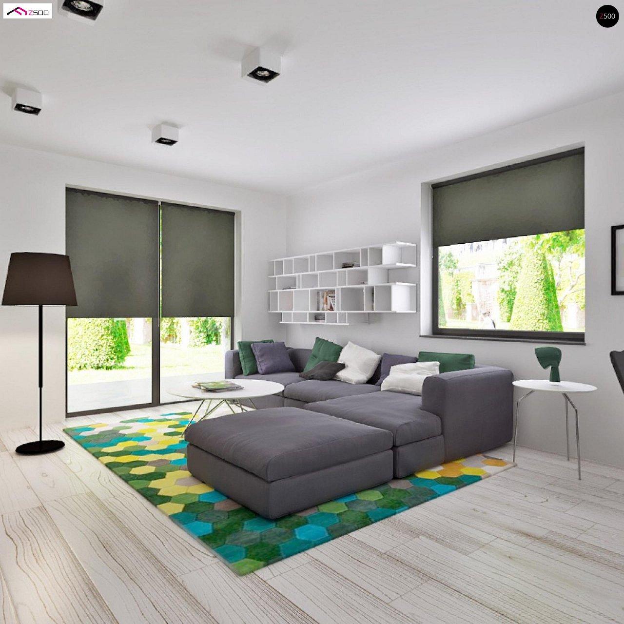Просторный одноэтажный дом с многоскатной крышей, угловым окном и угловой террасой в дневной зоне. 5