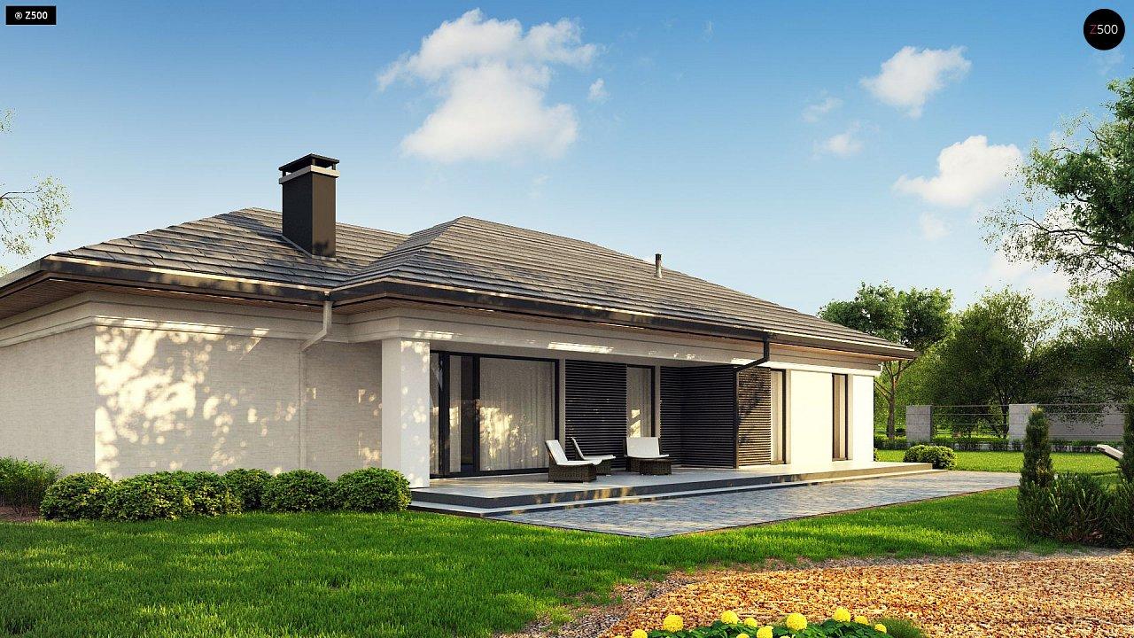 Прекрасный одноэтажный дом в современном стиле и гаражом на одну машину. - фото 1