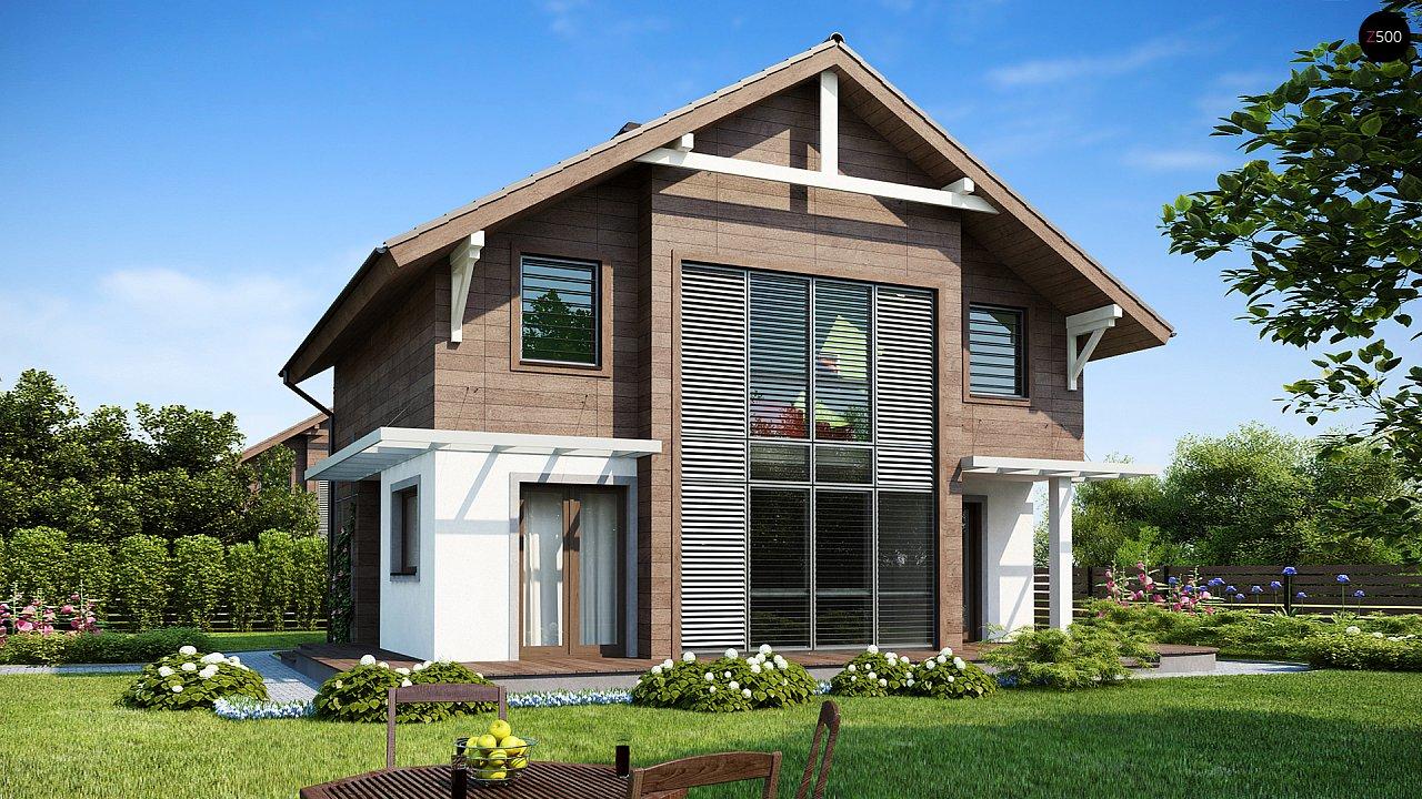 Проект двухэтажного дома с большой площадью остекления. 1