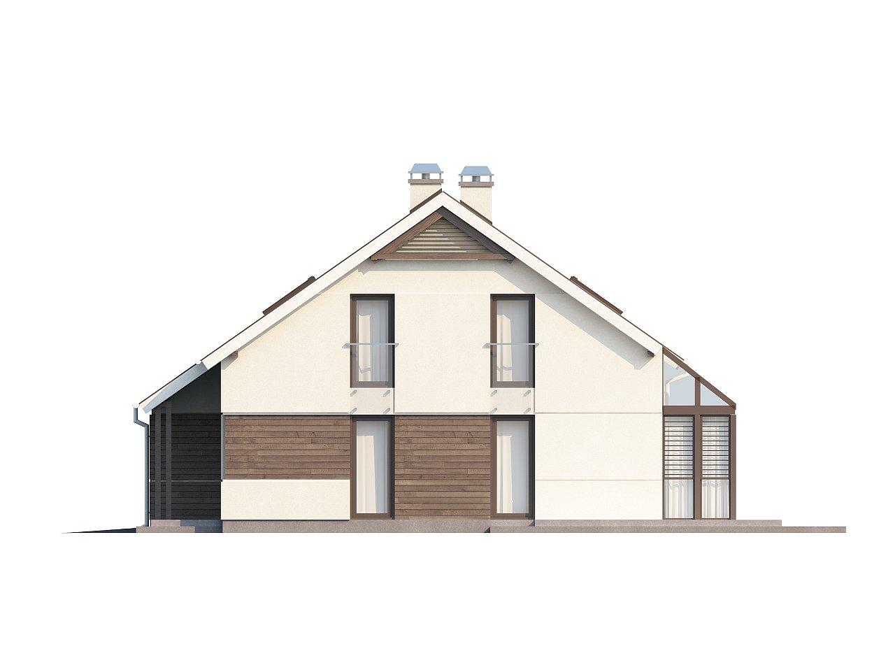 Проект дома с мансардой, с дополнительной спальней на первом этаже и с застекленной террасой. 12
