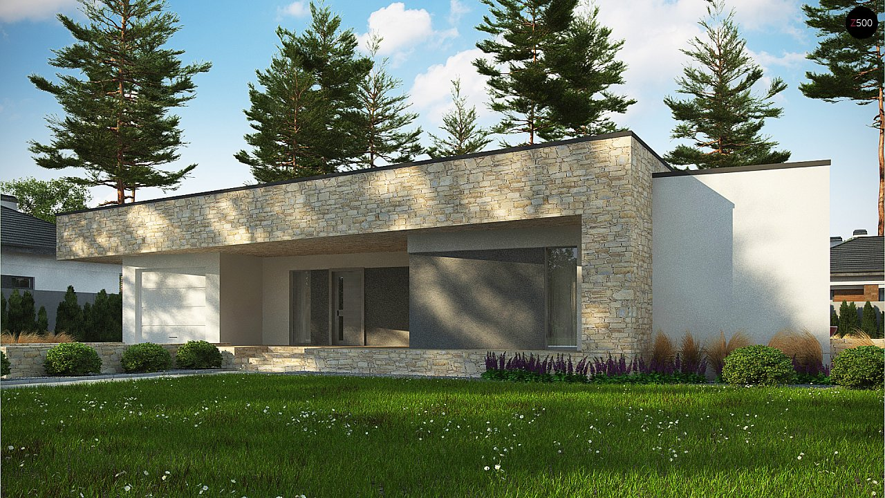 Одноэтажный коттедж с гаражом на одну машину и уютной террасой 3