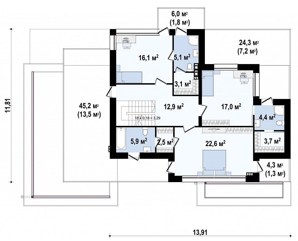 Современный двухэтажный дом с гаражом и террасой, спальней на первом этаже и ванной комнатой план помещений 2