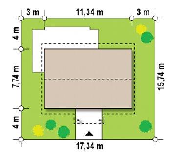 Простой в реализации дом с двускатной крышей, с возможностью обустройства мансарды. план помещений 1