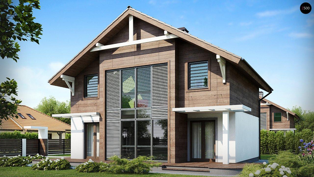 Проект двухэтажного дома с большой площадью остекления. 3