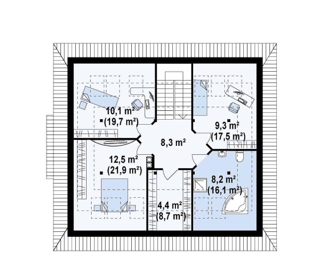 Проект функционального дома с дополнительной небольшой ночной зоной на первом этаже. план помещений 2