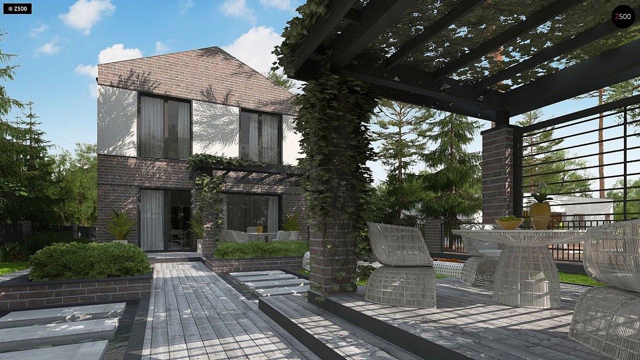 Проект компактного современного дома с двухуровневой планировкой и гаражом на один автомобиль. 5