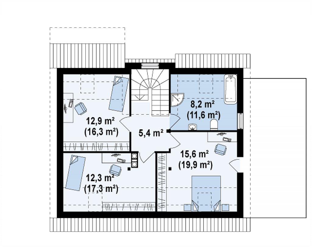 Уютный дом с кабинетом на первом этаже, оригинальным мансардным окном и террасой над гаражом. план помещений 2