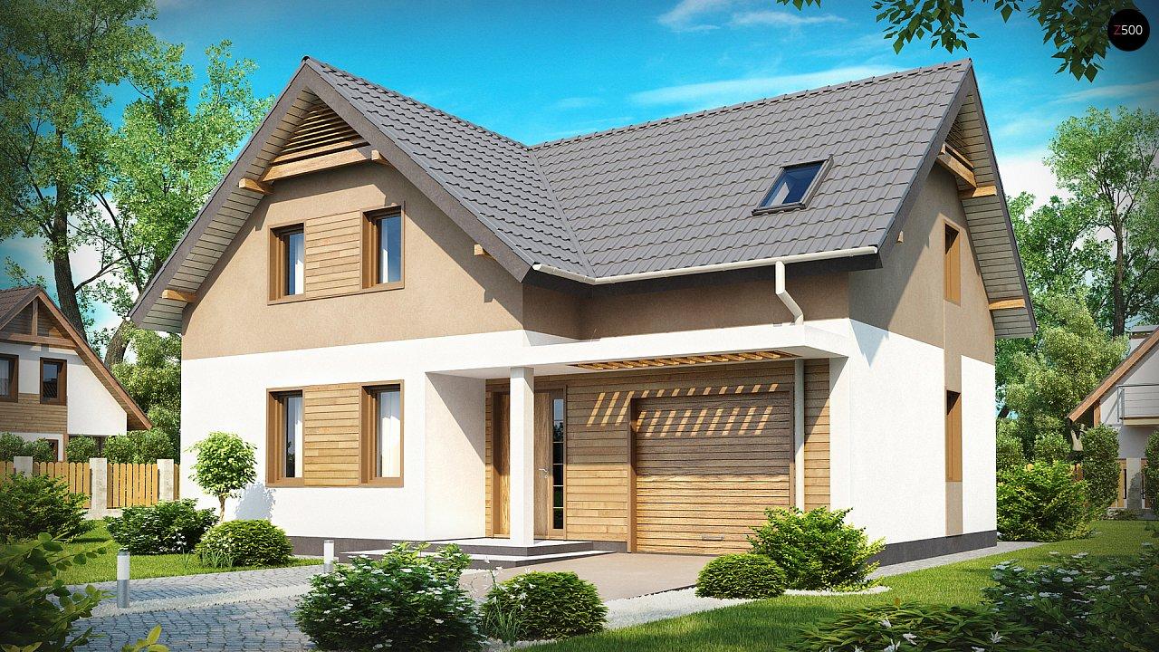 Проект удобного функционального дома с мансардой и гаражом  1