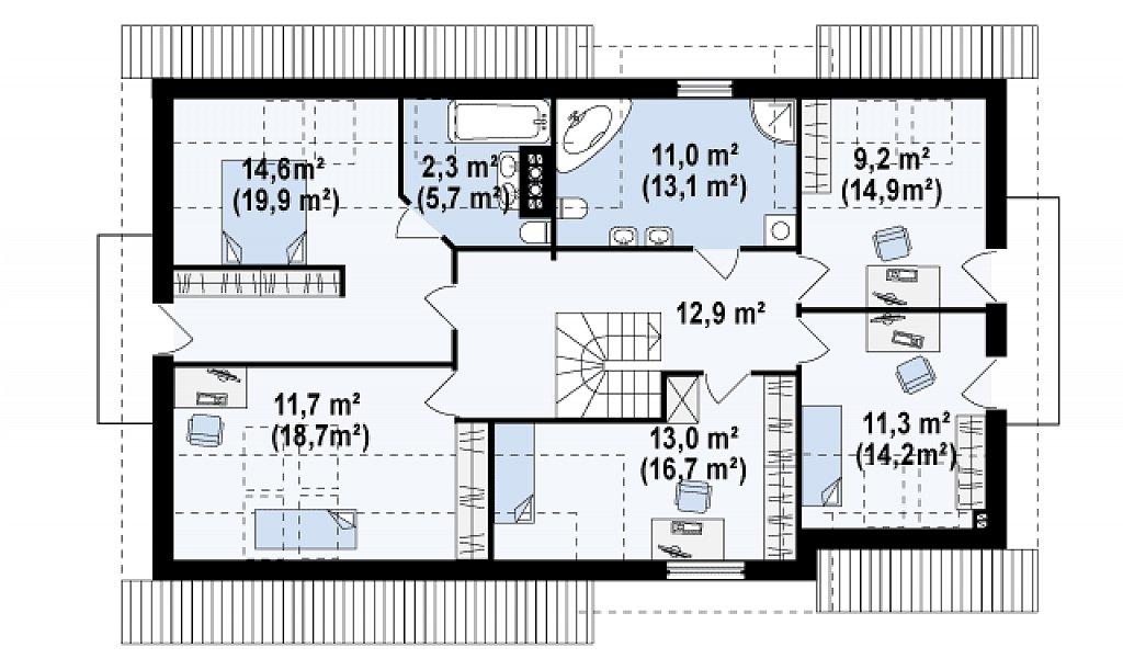Вариант типового проекта Z172 c добавленным гаражом для двух машин план помещений 2