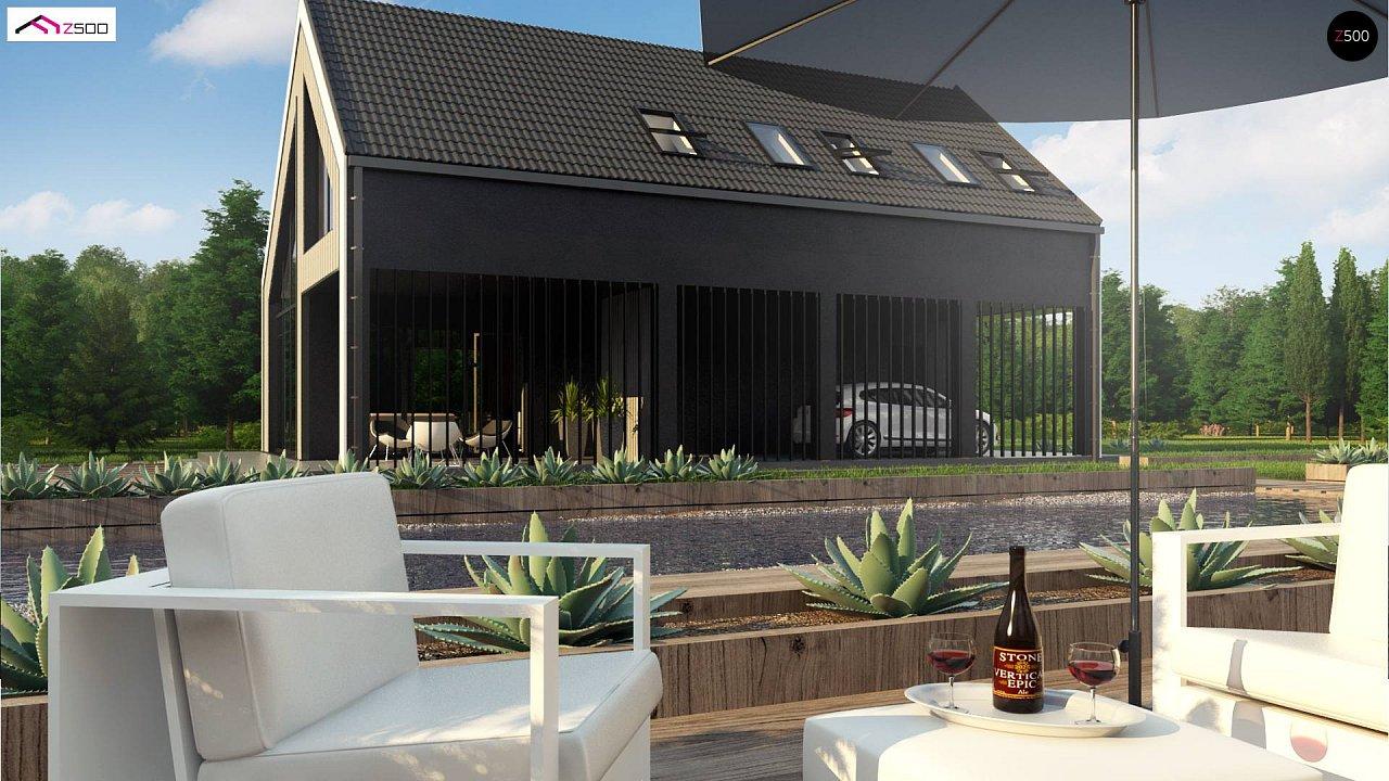 Мансардный дом простой формы с современным оригинальным экстерьером. - фото 5
