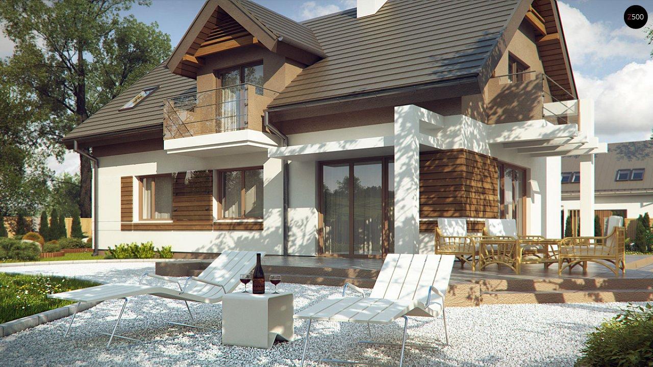 Проект функционального уютного дома с мансардными окнами и оригинальной отделкой фасадов. 3