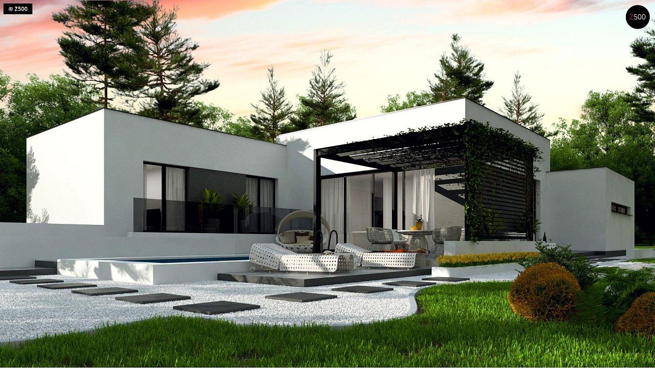 Проект современного одноэтажного дома с плоской кровлей. - фото 1