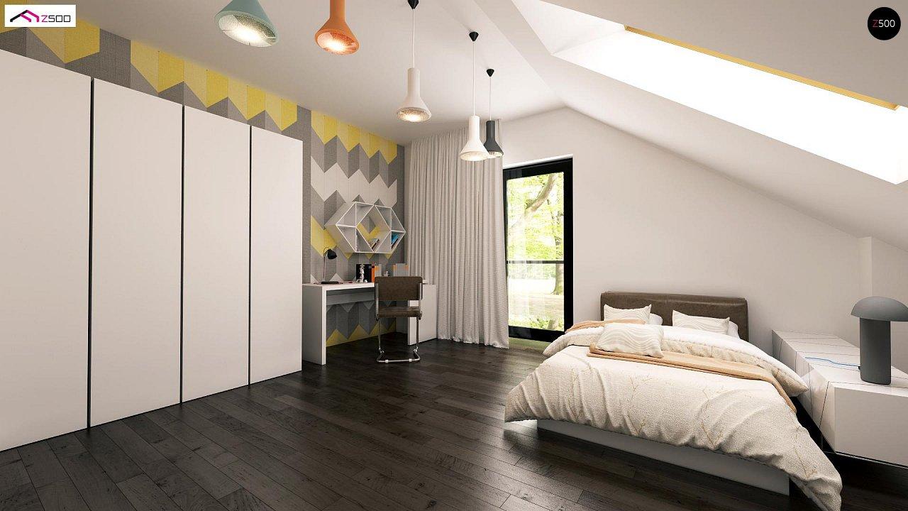 Проект дома с мансардой, с дополнительной спальней на первом этаже и с застекленной террасой. 4
