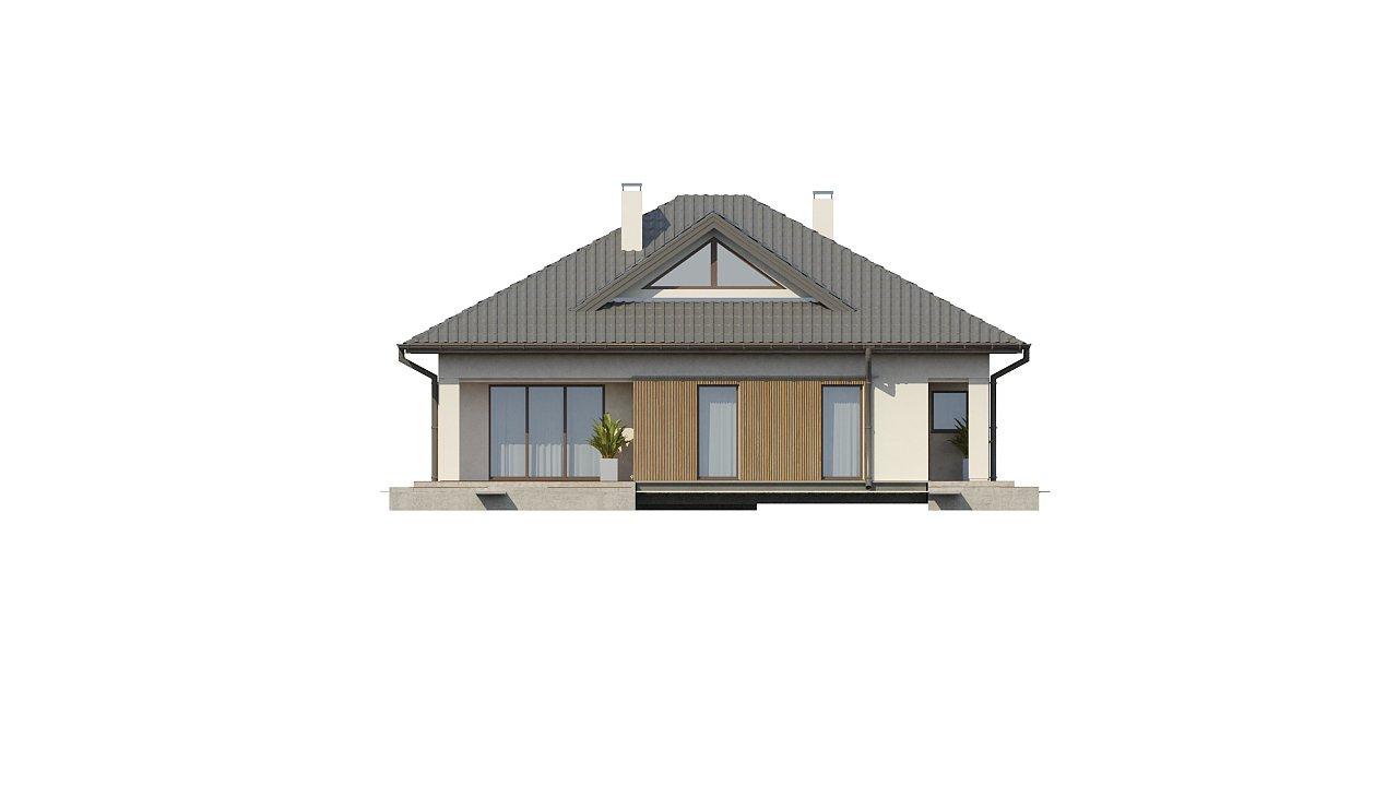 Проект комфортного одноэтажного дома с оригинальными фасадными окнами на чердаке. 18