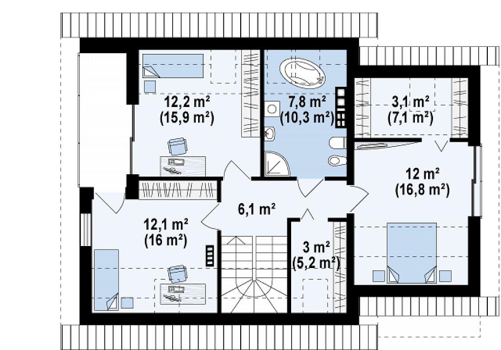 Проект аккуратного мансардного дома, с современным дизайном фасадов. план помещений 2