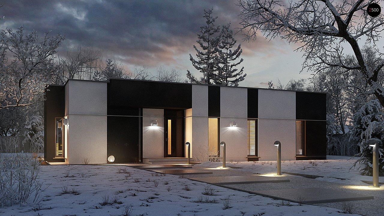Одноэтажный комфортный дом в стиле хай-тек. 1
